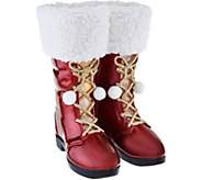 Kringle Express 12 Illuminated Santa Boots with Fabric & Glitter Accents - H209814