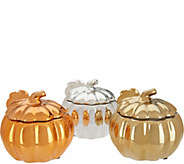 HomeWorx by Harry Slatkin Set of 3 Ceramic Pumpkin Candles - H211414