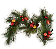 4 Pomegranate and Ornament Mixed Greens Garland by Valerie - H211914