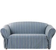 Sure Fit Grain Sack Stripe Love Seat Slipcover - H288814