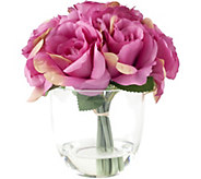 Pink Rose Floral Arrangement with Glass Vaseby Pure Garden - H291714
