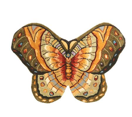 "Royal Palace Bold Butterfly 2'2"" x 3'2"" Handmade Wool Rug - H195315"