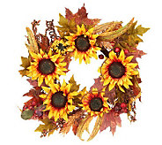 Sunflower Berry and Leaves 24 Wreath by Valerie - H200915