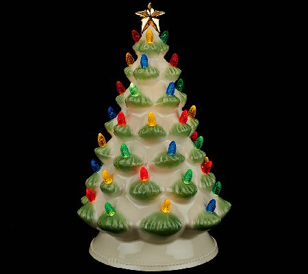 lenox treasured tradition 12 lit tree w 24k gold accents page 1 qvccom - Porcelain Christmas Tree With Lights