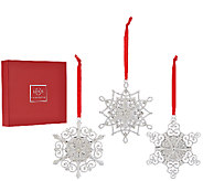 Lenox Set of 3 10K Gold Plated Snowflake Ornaments with Gift Boxes - H205515