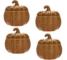 Temp-tations Old World S/ 4 12 oz. Pumpkin Covered Soup Bowls