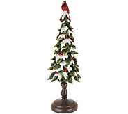 18 Snowy Cardinal Tree with Berry Accents by Valerie - H211515