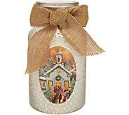 Plow & Hearth Illuminated Painted Glass Jar w/Nostalgic Scene & Bow - H211615
