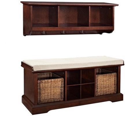 Crosley Brennan 2 Piece Entryway Bench And Shelf Set