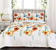 Percy Bloom Tangerine 3-Piece Full/Queen QuiltSet Lush Decor - H296015