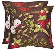 Safavieh Set of 2 18x18 Ocaria Floral Applique Pillows - H360615
