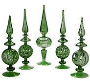 As Is Set of 5 Elegant Mercury Glass Finials - H207516