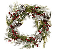Flocked Wreath with Red Berries and Cones by Valerie - H209116