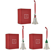 Lenox Set of 3 3 Silverplated Holiday Bell Ornaments - H209416