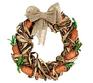 15 Raffia Carrot Wreath with Removable Burlap Bow by Valerie - H202417