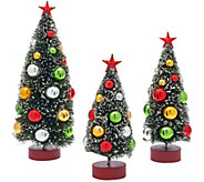Set of 3 Graduated Bottle Brush Trees with Decorations - H206617