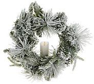 Luminara 15 Flocked Wreath with Pillar Candle - H214017