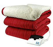 Biddeford Knit Heated Twin Size Blanket with Sherpa Back - H282417