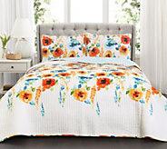 Percy Bloom Tangerine 3-Piece King Quilt Set byLush Decor - H296017