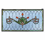 Tiffany Style Tulips and Fleurs Window Panel -14x26 - H131318