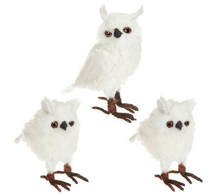 Set of 3 White Snowy Owl Feathered Figurines