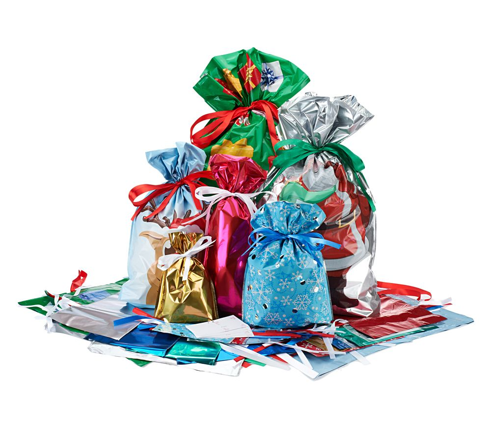 Kringle express 60 piece e z drawstring holiday gift bag bow set kringle express 60 piece e z drawstring holiday gift bag bow set page 1 qvc negle Choice Image
