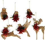 As Is Set of 6 Glittered Forest Friends Ornaments w/ Embellishments - H207518