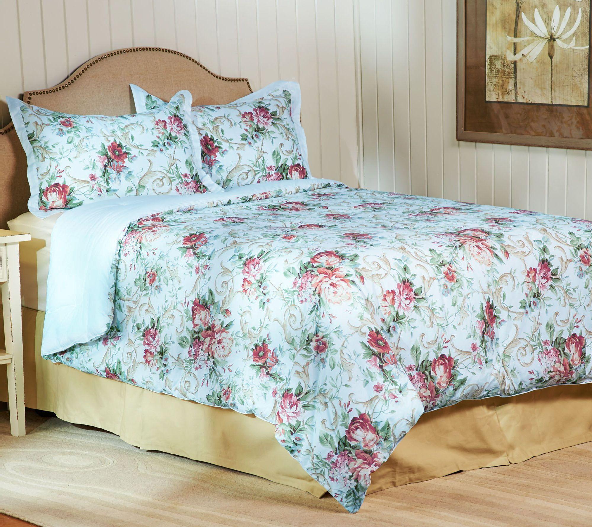 3-piece Rose Trellis Bedding Set by Valerie - Page 1 — QVC.com