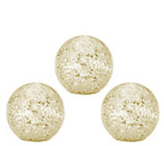 As Is Set of 3 Illuminated Sparkle Sequin Spheres by Valerie - H210318