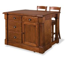 Home Styles Aspen Kitchen Island and 2 Stools