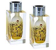 Copa Judaica Golden Jerusalem Shabbat Candlesticks - H144519