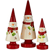 Kringle Express Set of 3 Lit Ceramic Christmas Characters - H206219