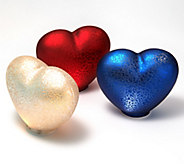 Set of 3 Illuminated Mercury Glass Hearts by Valerie - H210519