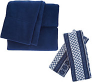 Malden Mills Polarfleece QN Sheet Set w/ Extra Fairisle Pillow Cases - H213119