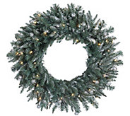30 Prelit Frosted Crystal Balsam Wreath by Valerie - H286919