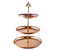 Old Dutch International Hammered Solid Copper Serving Stand - H288119