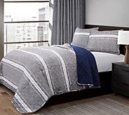 Marlton Stripe Gray 3-Piece Full/Queen Quilt Set by Lush Decor - H296019