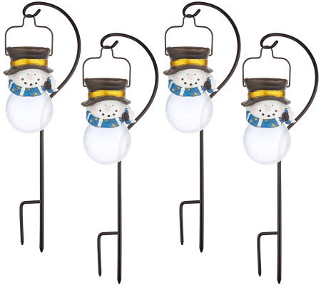Set of 4 Hanging Solar Powered Snowman Lights with Stands
