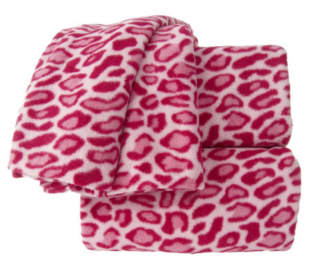 Malden Mills Polar Fleece Leopard Print Twin Size Sheet Set