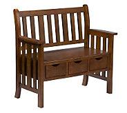 Merrell 3-Drawer Oak-Finished Bench - H181620