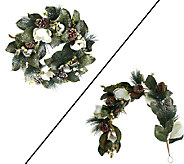 Magnolia and Pinecone 26 Wreath or 4 Garland by Valerie - H200820