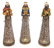 As Is 3-piece Illuminated Nativity Scene w/Timers - H204420