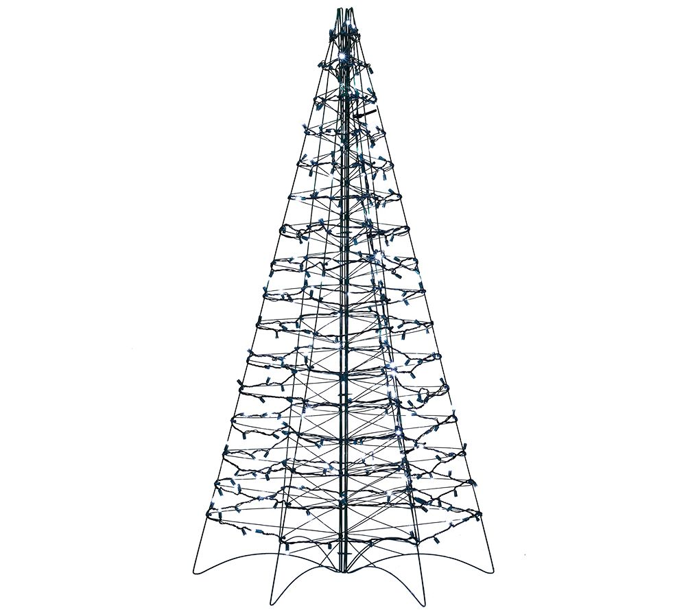 pre lit led 5 fold flat outdoor christmas tree by lori greiner page 1 qvccom - White Outdoor Christmas Tree