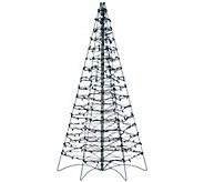 Pre-Lit LED 5 Fold Flat Outdoor Christmas Tree by Lori Greiner - H206420