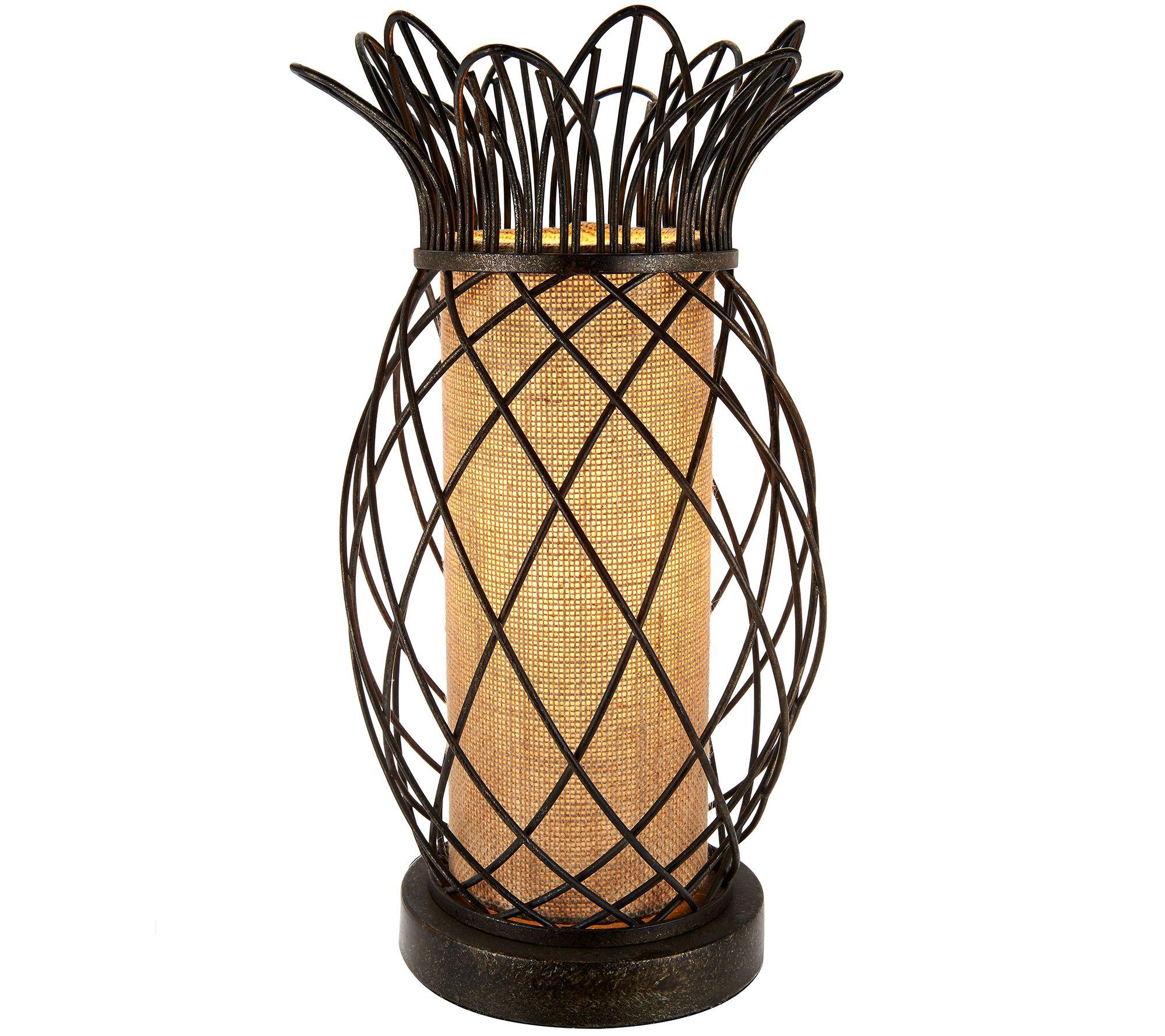 Antiqued Bronze Metal Pineapple Plug In Lamp By Valerie   Page 1 U2014 QVC.com