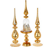 Set of 3 Illuminated Finials with Scene Detail by Valerie - H209120