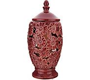 Illuminated Ceramic Floral Hurricane by Valerie - H210520