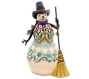 Jim Shore Heartwood Creek Snowman with Broom Statue - H290220