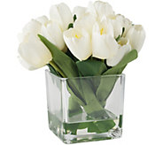 Pure Garden Cream Tulip Floral Arrangement withGlass Vase - H291720