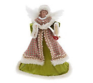 17 Velvet & Plaid Angel Tree Topper w/ Feather Wings by Valerie - H197421